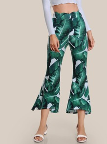 Jungle Leaf Print Scallop Waist Flared Pants