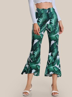 Jungle Leaf Print Scallop Waist Flared Pants