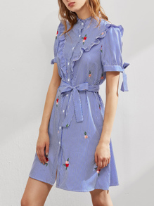 Ruffle Trim Yoke Tie Sleeve Belted Embroidered Shirt Dress