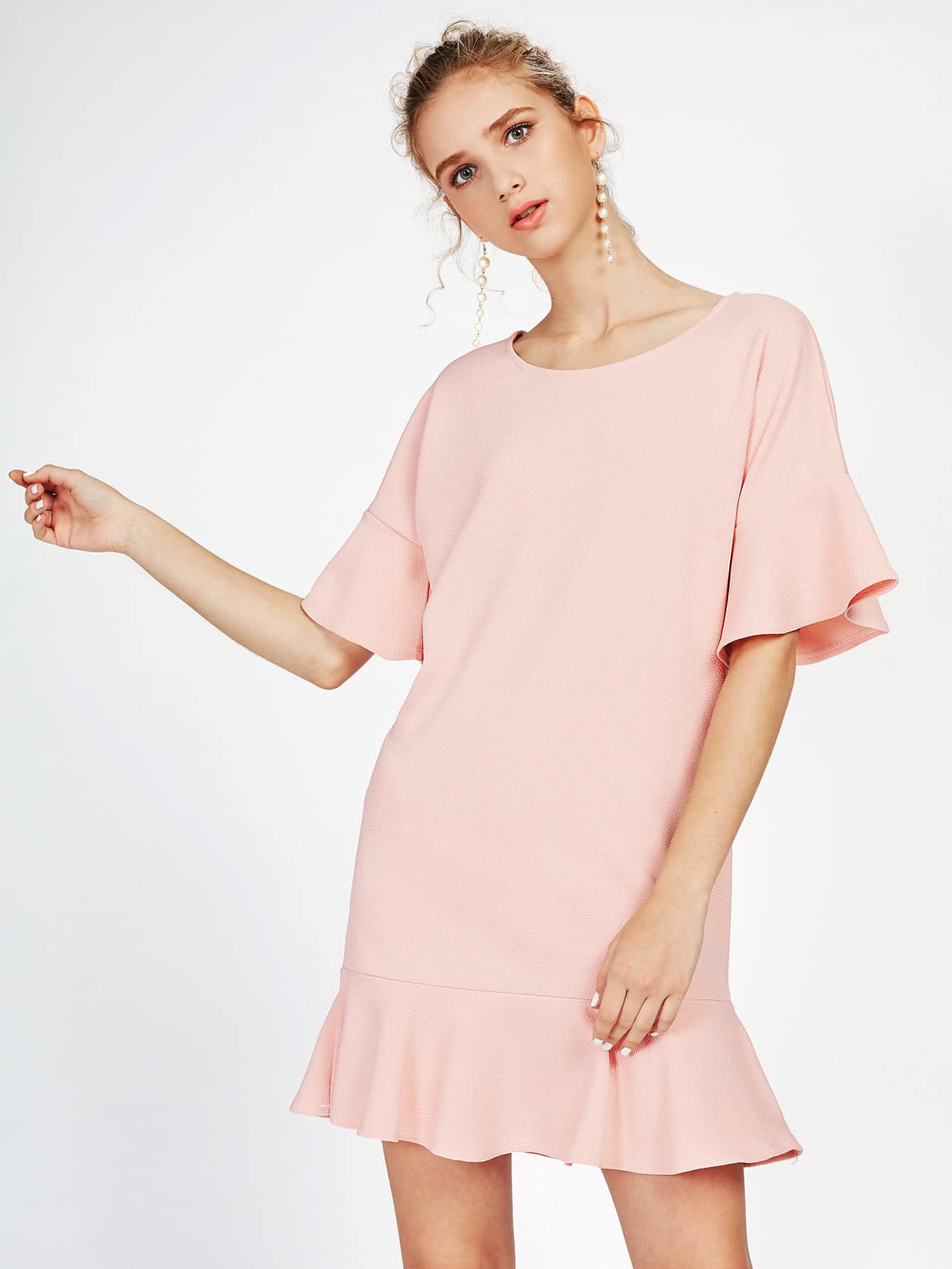 Frill Trim Drop Hem Dress drop shoulder frill hem batwing sweatshirt