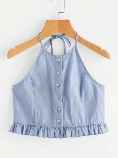 Button Placket Frilled Hem Chambray Halter Top