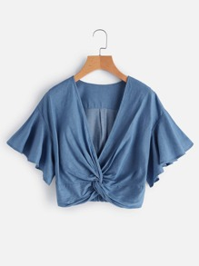 Twist Knot Front Flutter Sleeve Denim Crop Top