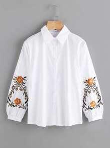 Symmetric Embroidery Lantern Sleeve Shirt