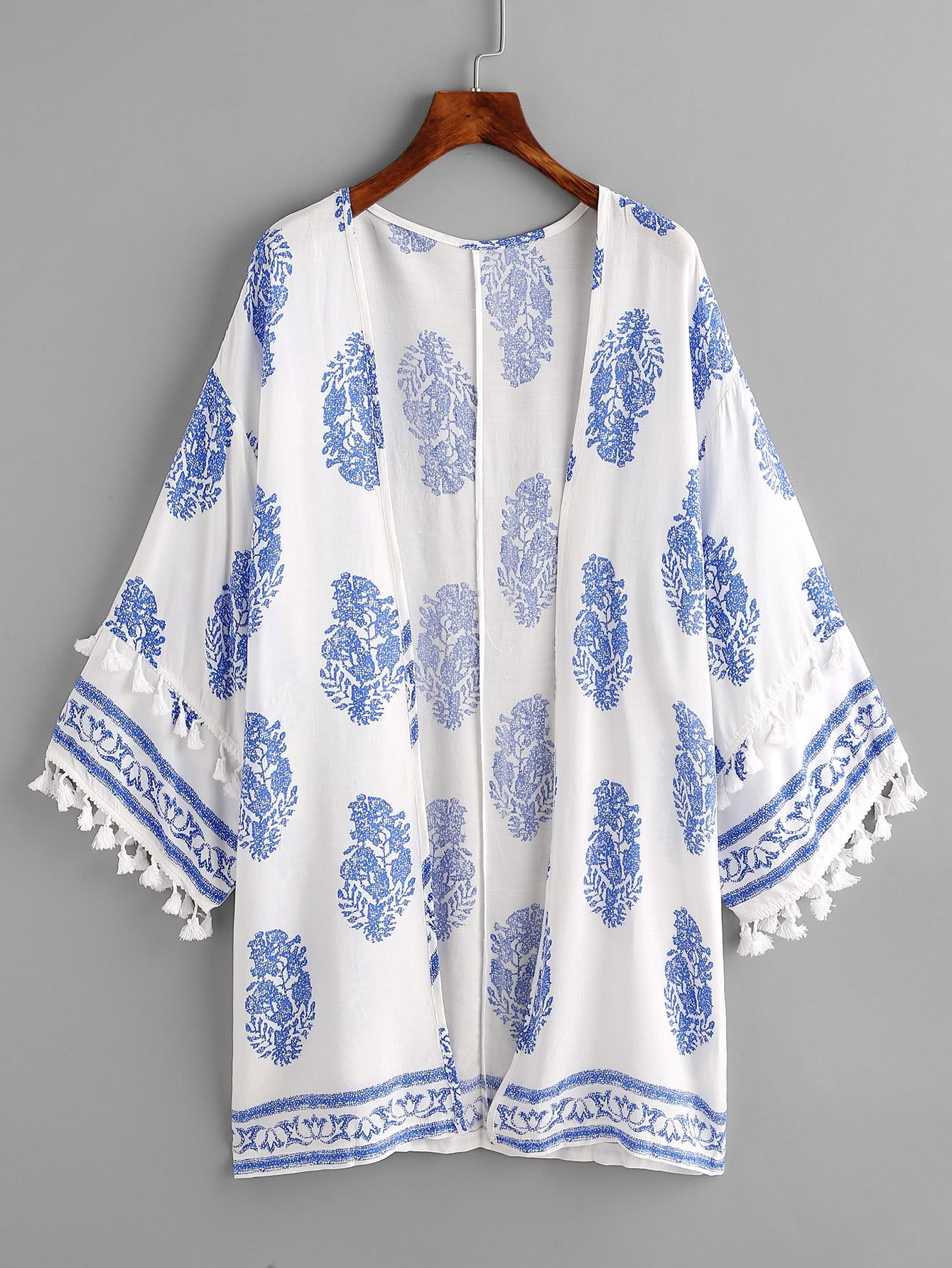 Фото Tassel Trim Ornate Print Kimono. Купить с доставкой