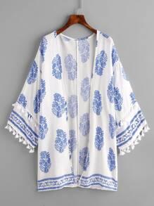 Tassel Trim Ornate Print Kimono