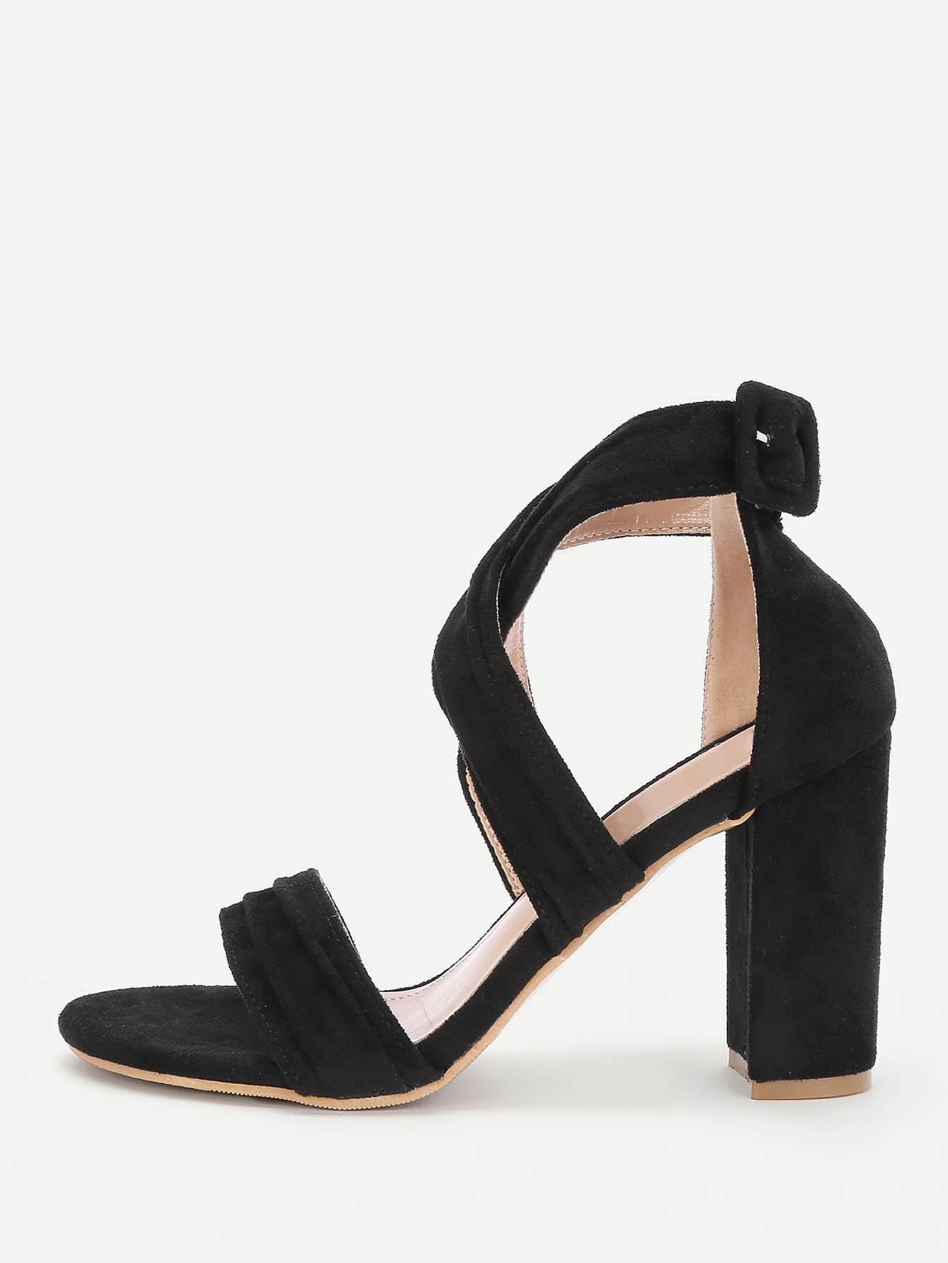 Фото Criss Cross Block Heeled Sandals. Купить с доставкой