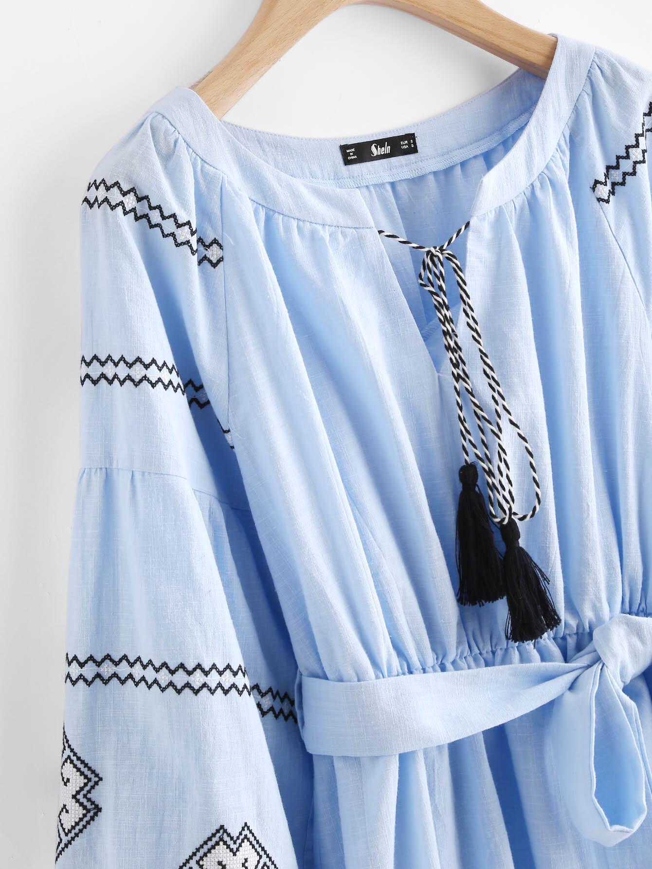 robe manche lanterne brod e avec des franges french romwe. Black Bedroom Furniture Sets. Home Design Ideas