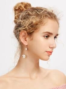 Faux Pearl Embellished Charm Earrings