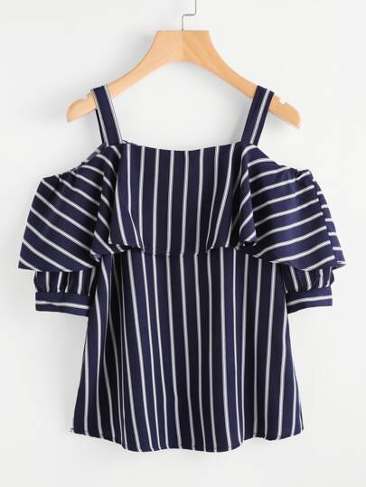 Open Shoulder Layered Striped Top