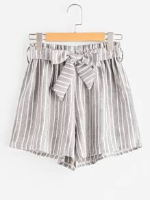 Vertical Stripe Elastic Waist Self Tie Front Shorts