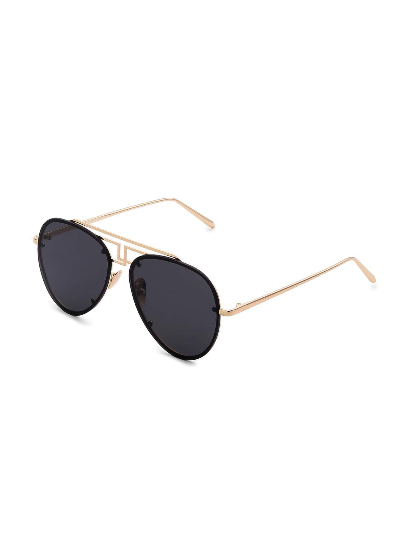 Rimless Aviator Sunglasses : Asymmetrical Top Bar Rimless Aviator Sunglasses -SheIn ...