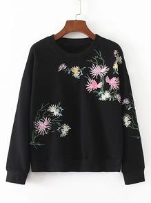 Sweat-shirt brodé des fleurs avec la chute de l\'épaule