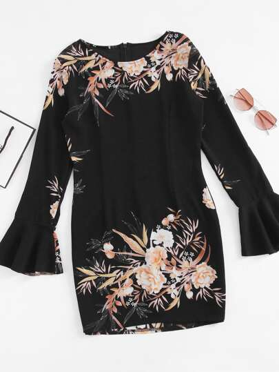 Fluted Sleeve Floral Print Zip Back Mini Dress
