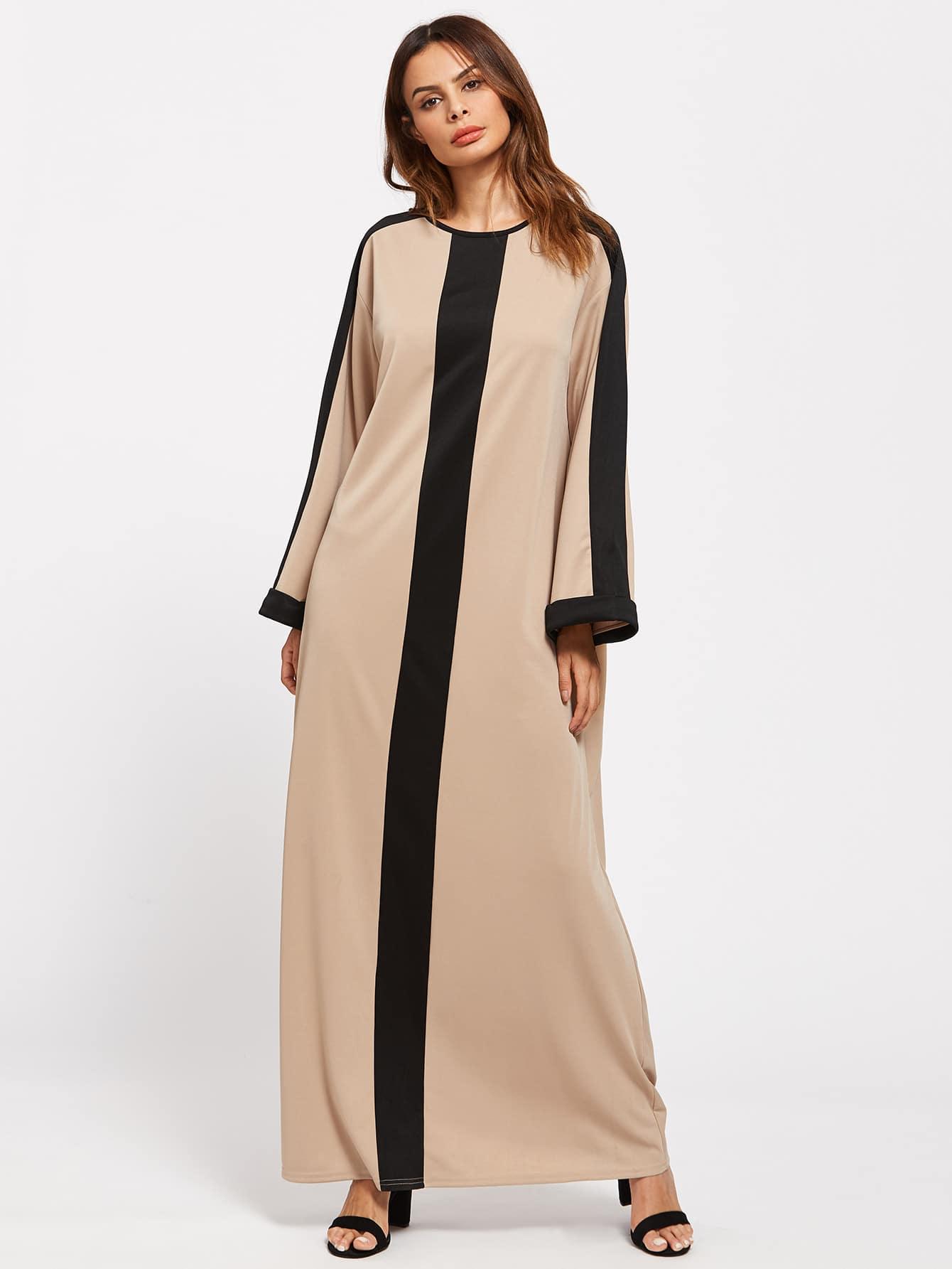 Фото Contrast Panel Buttoned Keyhole Back Kaftan Dress. Купить с доставкой