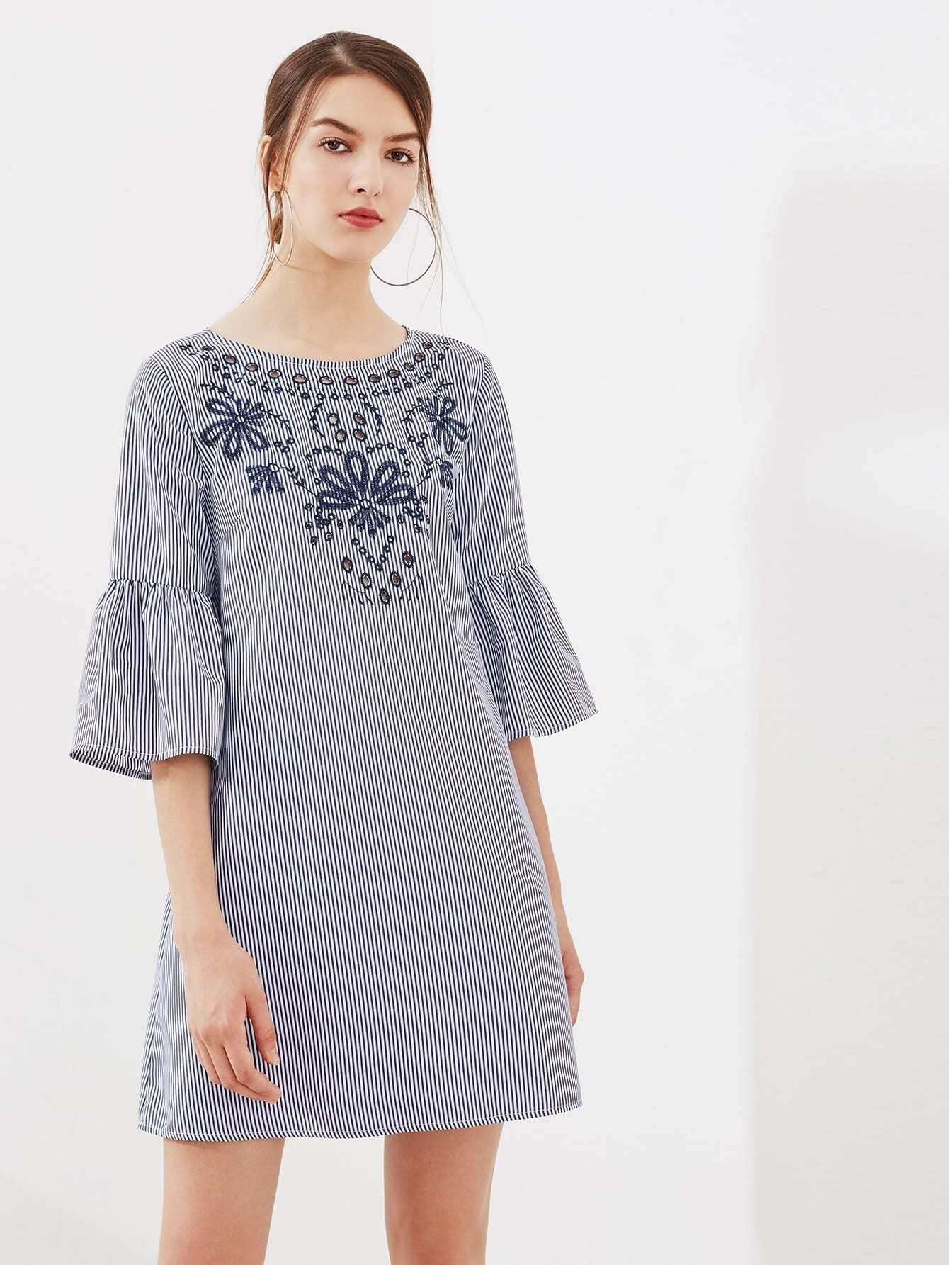 Eyelet Embroidered Trumpet Sleeve Tie Back Dress eyelet embroidered self belted dress