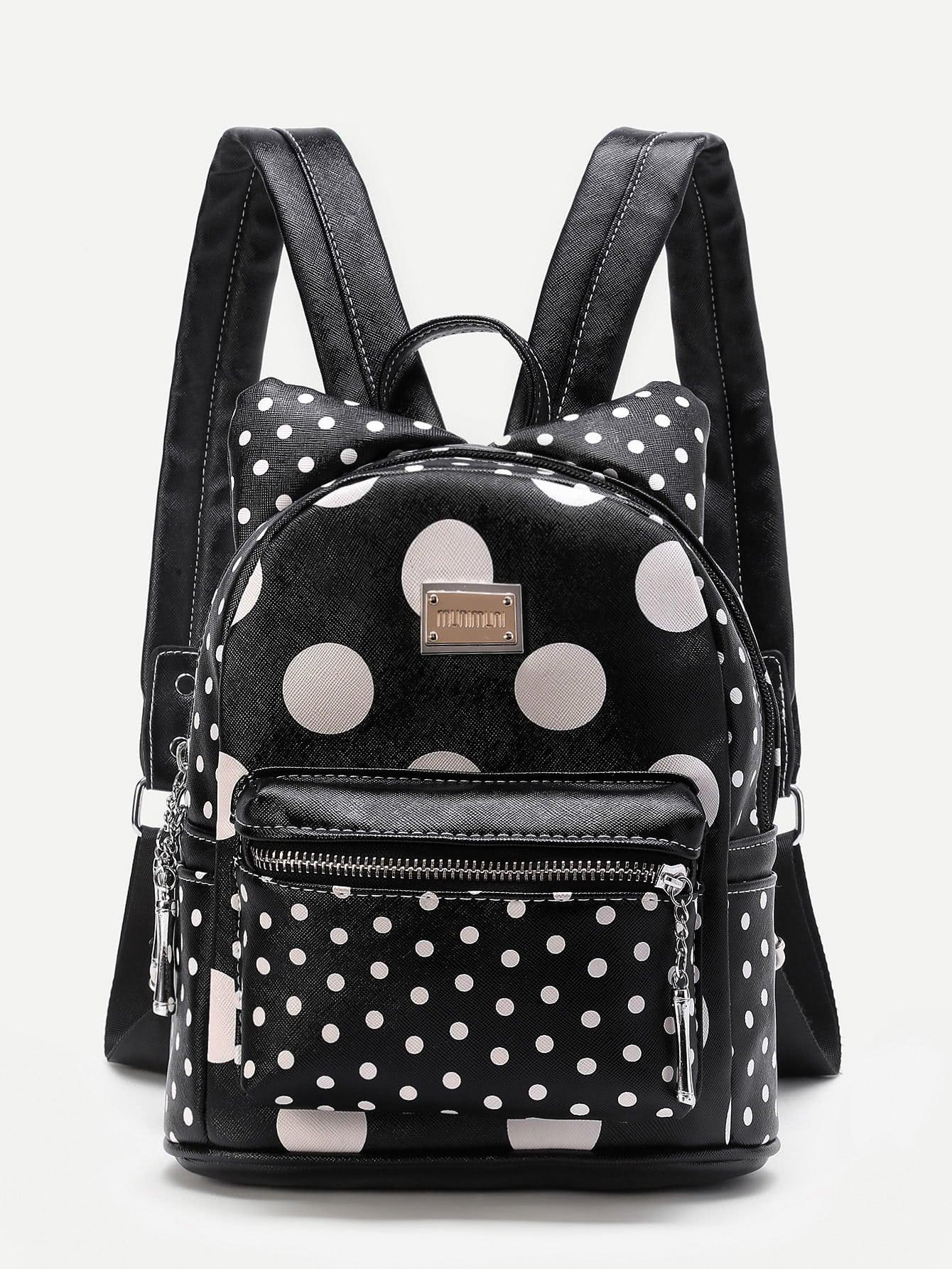 Фото Polka Dot Ear Design PU Backpack. Купить с доставкой
