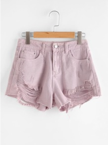 Shorts en denim con rotura