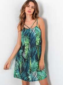 Palm Leaf Print Strappy Chiffon Dress
