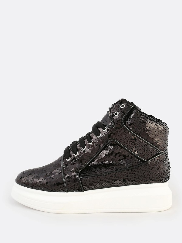 Sequined High Top Lace Up Sneakers Black by Sheinside