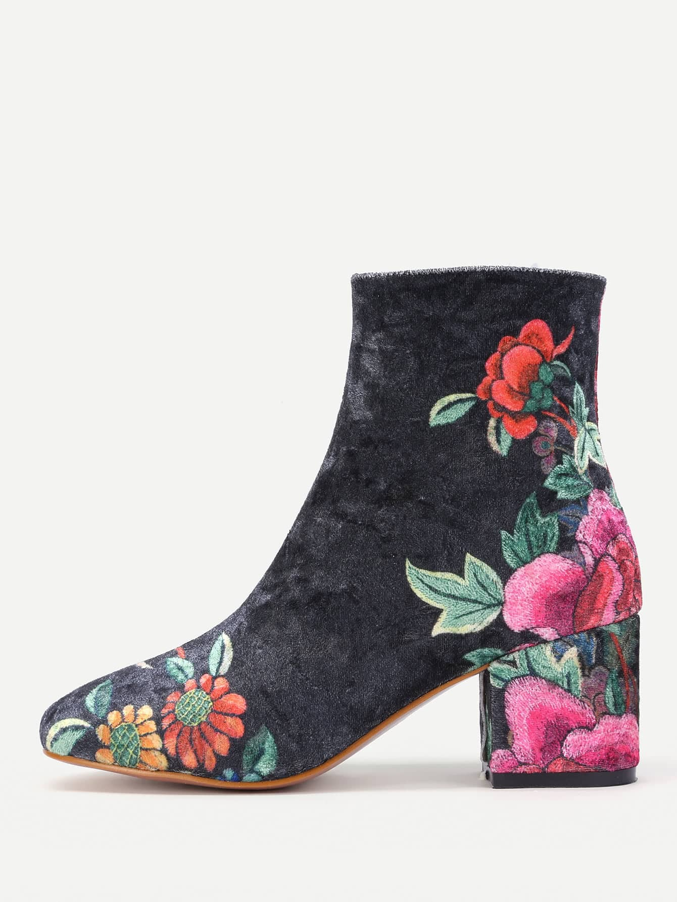 Floral Print Side Zipper Ankle Boots -SheIn(Sheinside)