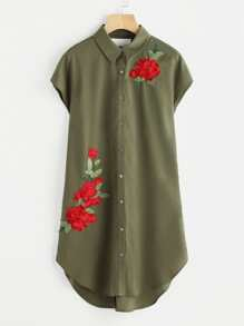 Flower Patch Ladder Strap Back Curve Shirt Dress