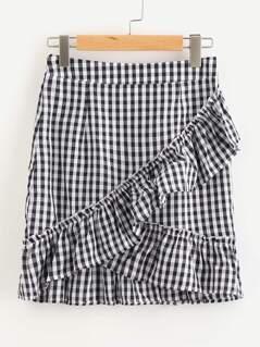 Ruffle Trim Checkered Skirt