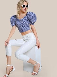 Gingham Off Shoulder Top NAVY