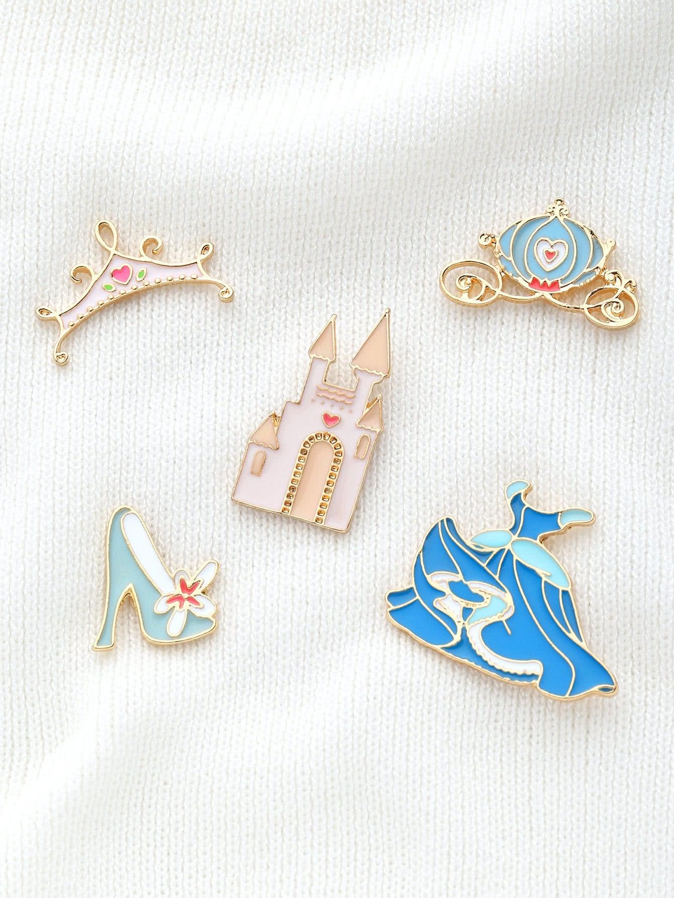 Crown & Shoes Design Brooch Set