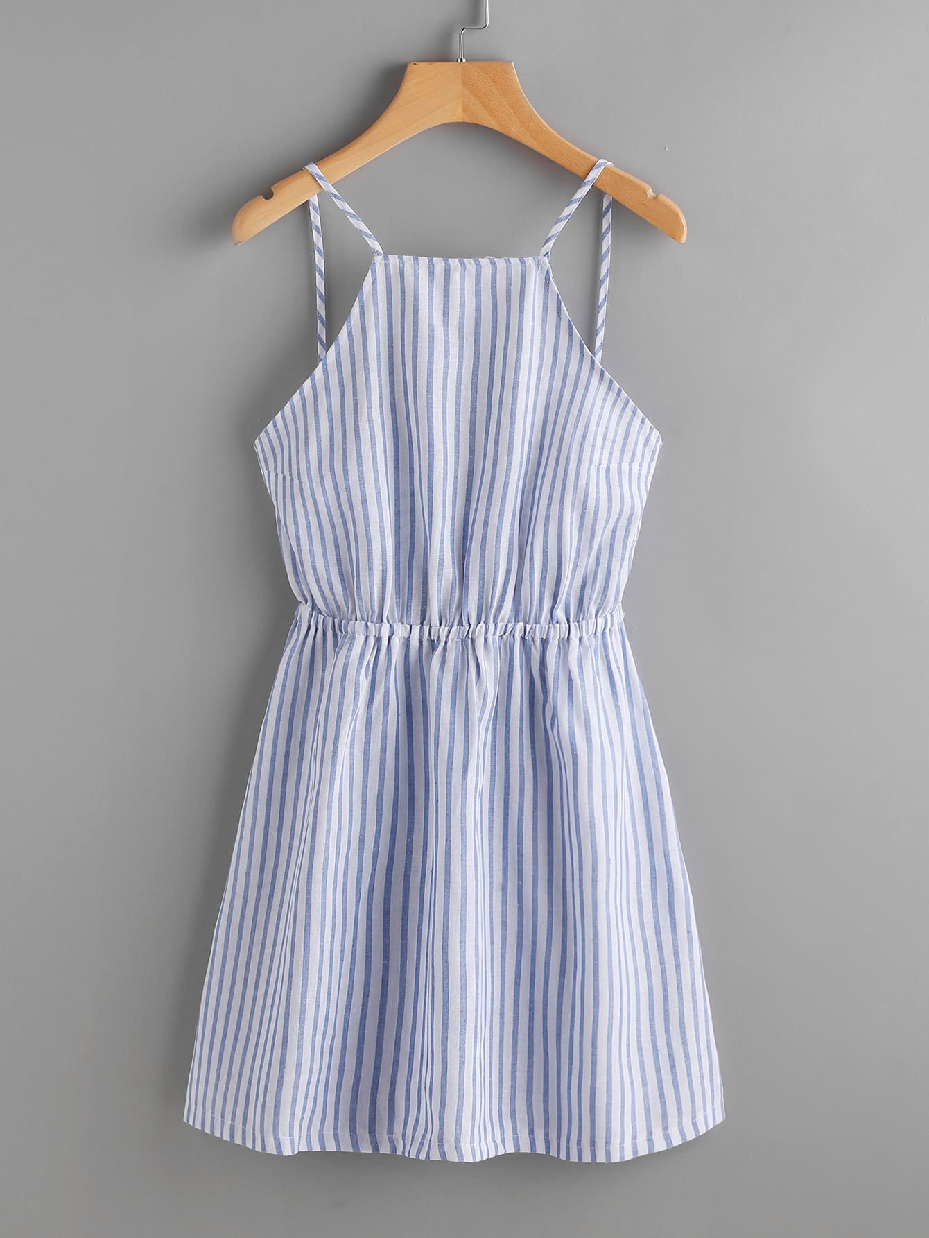 Striped Cut Out Bow Tie Open Back Cami Dress bow tie striped cami jumpsuit