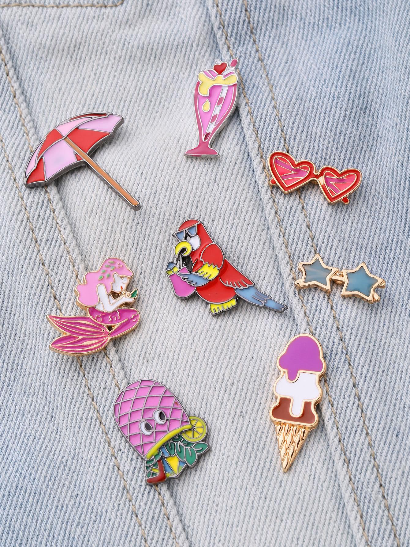 Фото Mermaid & Heart Design Brooch Set. Купить с доставкой
