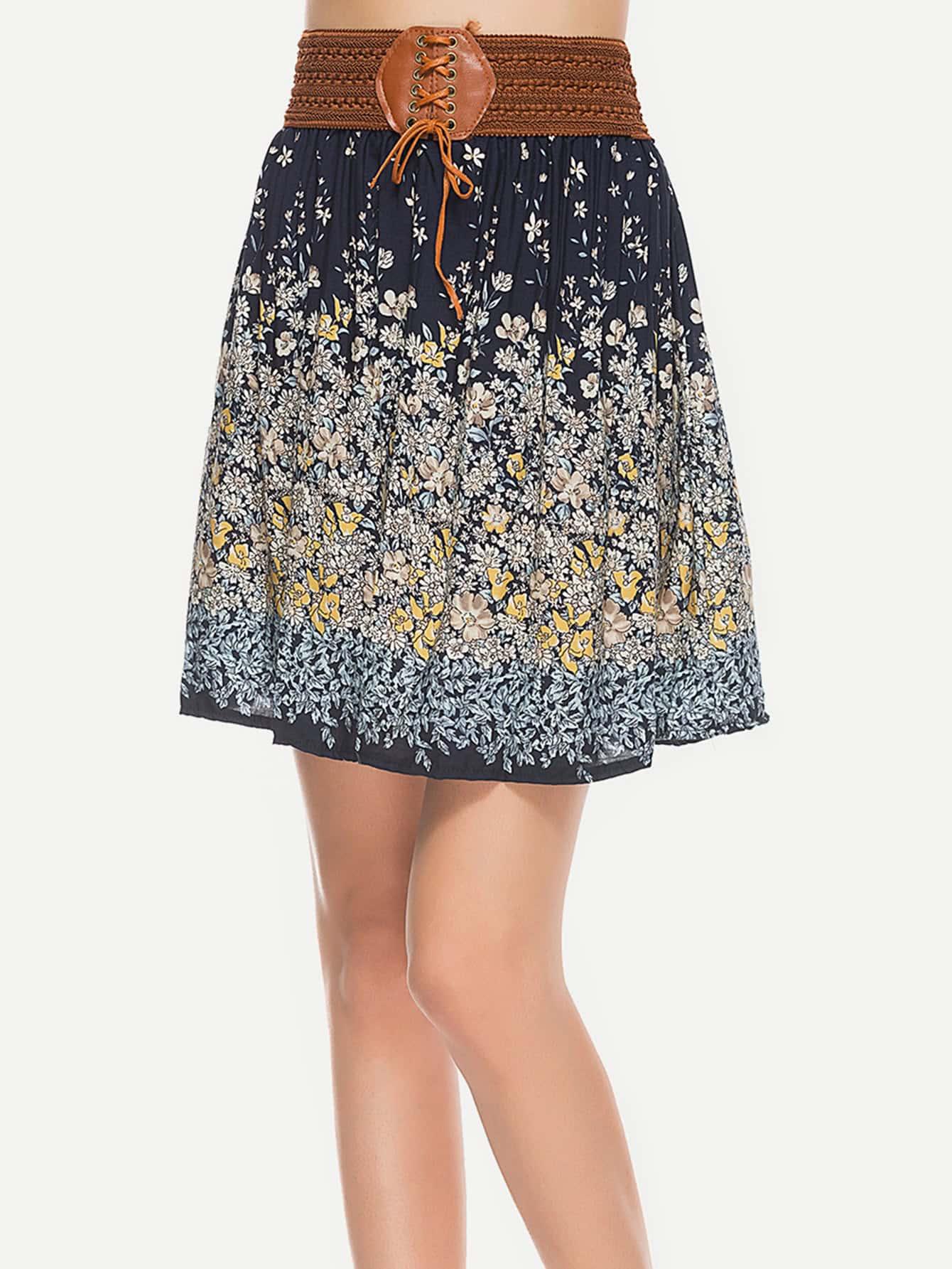 Фото Contrast Waist Calico Print Skirt. Купить с доставкой