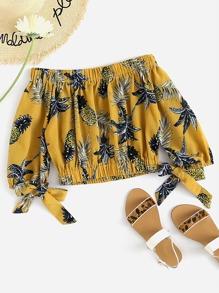 Bardot Pineapple Print Random Crop Top