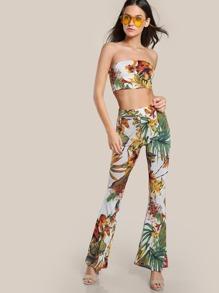 Floral Print Bandeau & Matching Pants Set IVORY