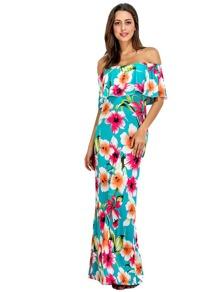 Allover Florals Flounce Layered Neckline Dress