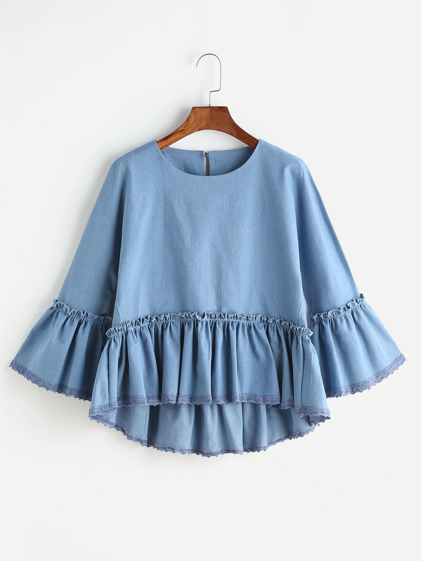 Image of Blue Ruffle Trim Bell Sleeve High Low Denim Top