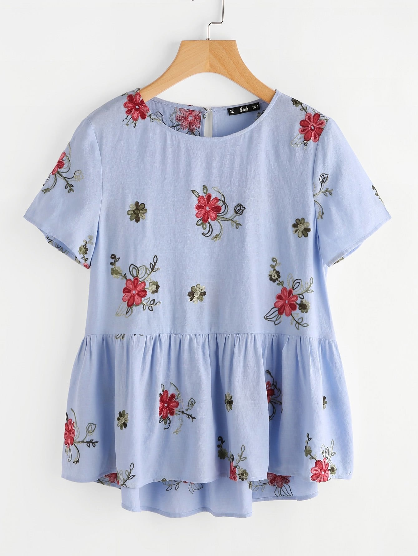 Flower Embroidered Keyhole Back Smock Top embroidered yoke buttoned keyhole frill sleeve smock top