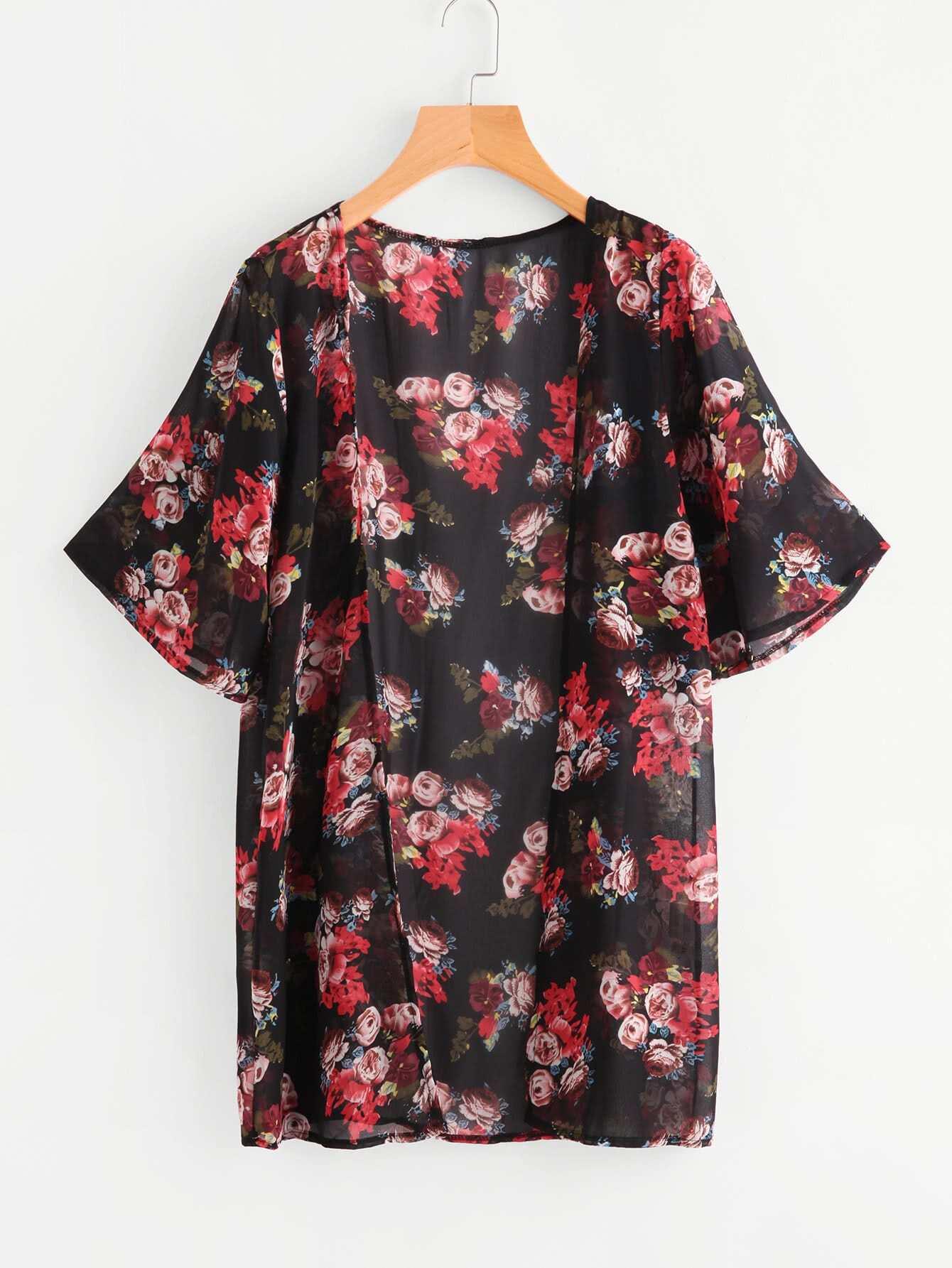 Фото Allover Rose Print Beach Kimono. Купить с доставкой