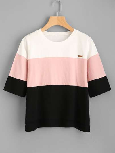 Camiseta con parche de color block