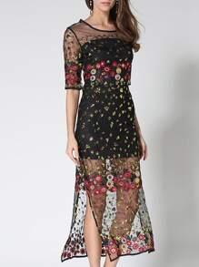 Gauze Embroidered Sequined Split Sheer Dress