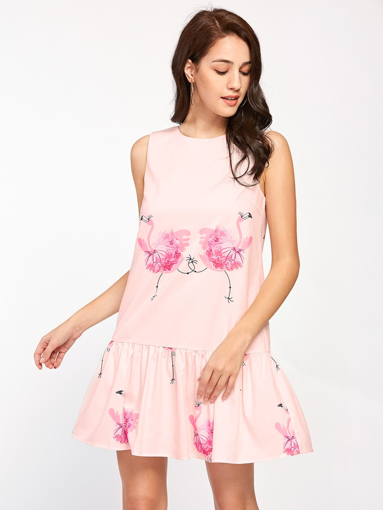 Flamingo Print V Back Drop Waist Dress