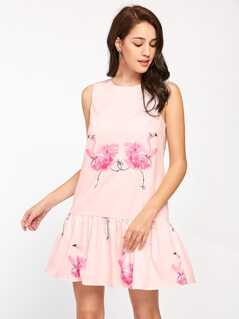 Flamingo Print V Back Drop Waist Dress