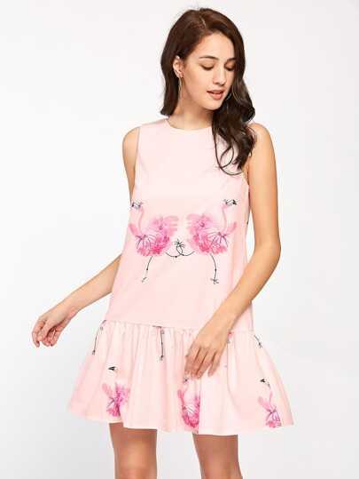 Vestido con estampado de flamenco con espalda en V con cintura caído