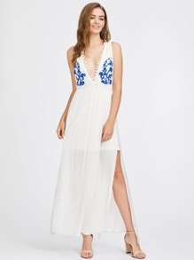 Plunging Pom Pom Trim Slit Side Embroidered Dress