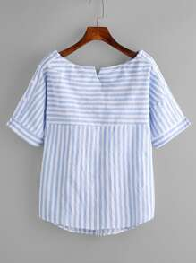 Boat Neckline Contrast Striped Blouse With Buttons