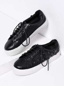 Flower Embellished Lace Up Faux Leather Sneakers 3/2.5