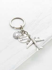 Mini Metal Aircraft Decorated Keychain