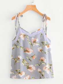 Contrast Panel Botanical Print Tie-Strap Cami Top