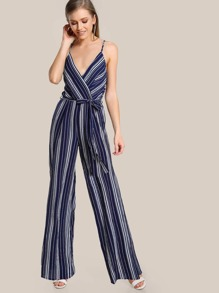 Surplice Front Self Belt Wide Leg Cami Jumpsuit