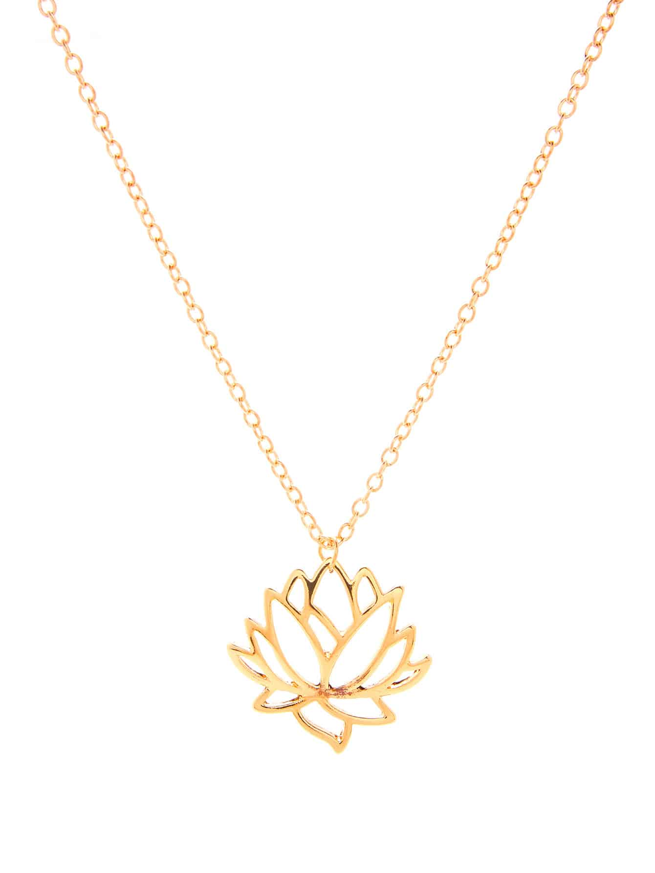 flower white gold pendant lotus chain necklace gifts valentines