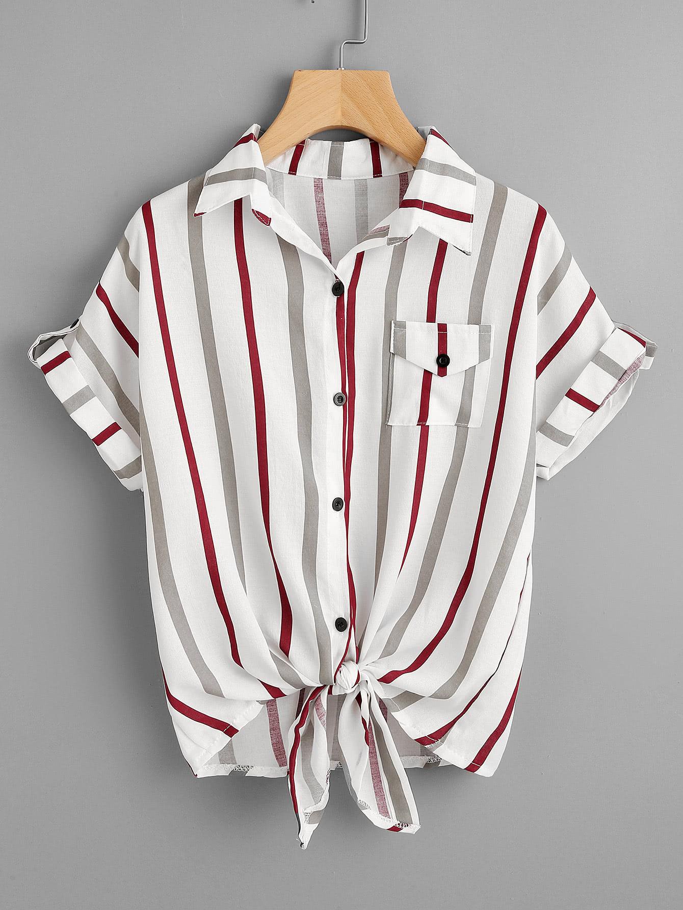 Фото Rolled Sleeve Knotted Hem Striped Shirt. Купить с доставкой